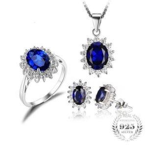 Princess Diana Blue Sapphire Jewelry Set